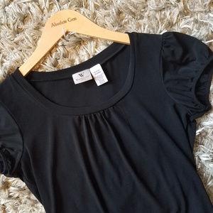 Worthington Stretch Black Short Sleeve Blouse - M